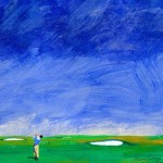 Golf print by Stephen Anthony golf golfart art blue instagolfhellip