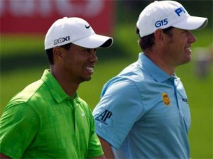 Tiger Woods and Lee Westwood in Dubai