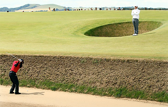 tiger in sod bunker Creativity and the British Open