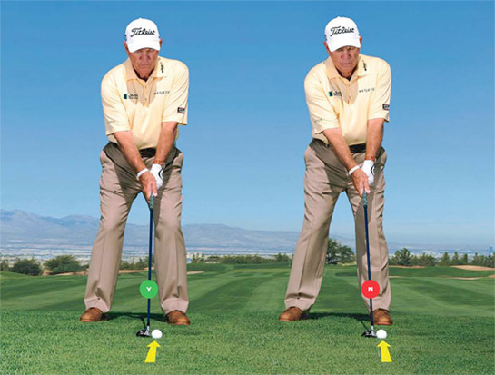hybrid golf ball position
