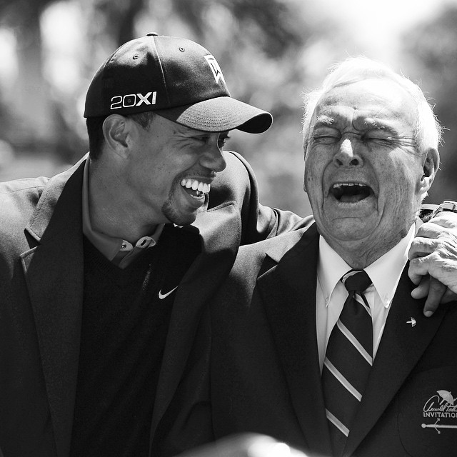 Tiger and Arnie hucking it up! golf instagolf arnoldpalmer theking…