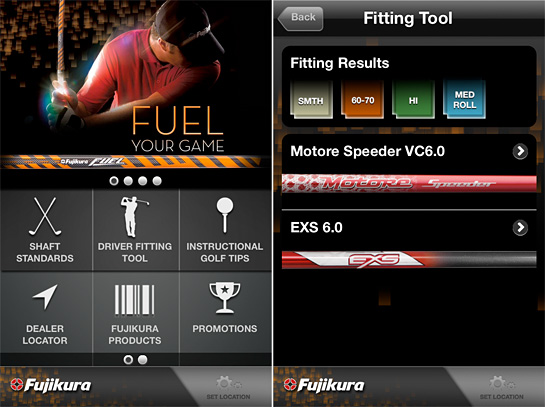 fujikura golf shaft app