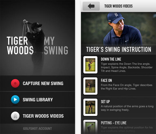 Tiger Woods golf app
