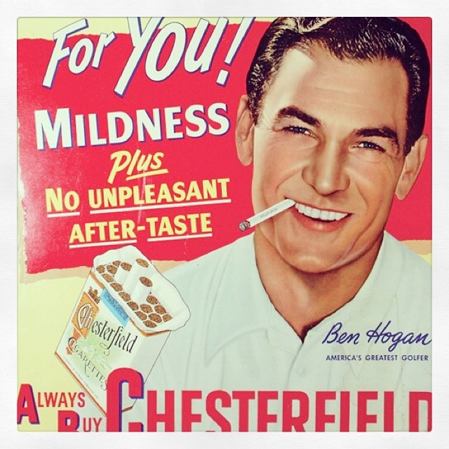 Have a Chesterfield and relax. #benhogan #chesterfields #golf #vintageads #golfads
