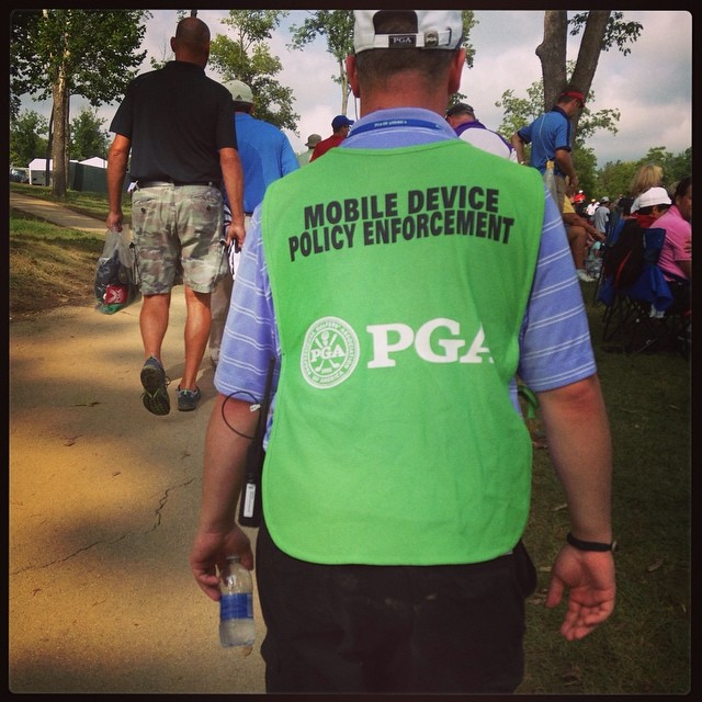 PGA mobile police on the move. Ridiculous. Saw tons of people taking mobile photos. #golf #pgachamp #valhalla #stoopid #pga