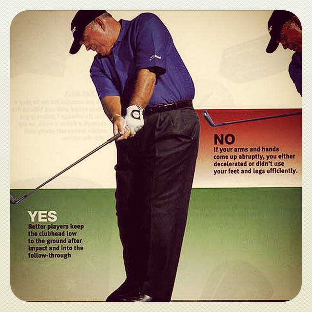 Butch Harmon showing ideal club location after impact. #golf #golftips #golfinstruction #butchharmon