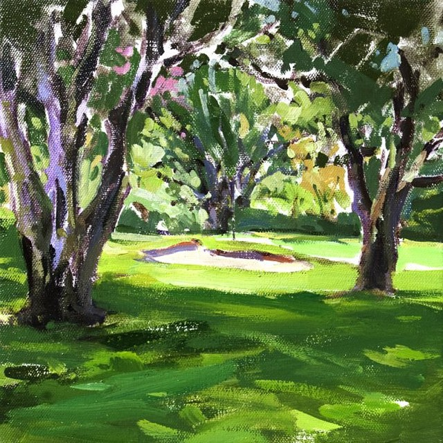 Hole #3 Bel-Air CC. Acrylic on board by Brad Faegre. #golf #bradfaegre #golfart #pleinair