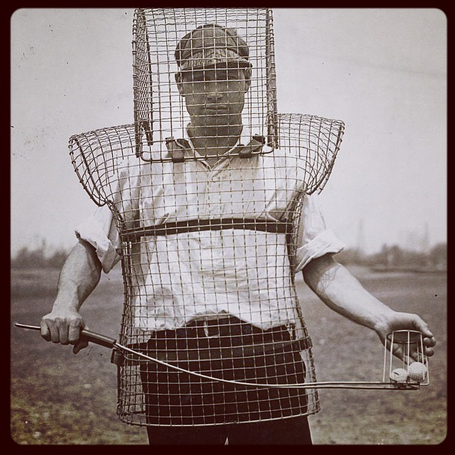 Now this doesn't look like much fun - a human range ball picker-upper! #golf #golfrange #rangeballs