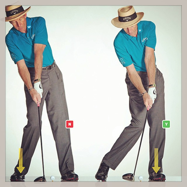 NO: Don't get stuck on your back foot. YES: Push your hips forward to shift your weight. #golf #golftips #davidleadbetter ⛳️?