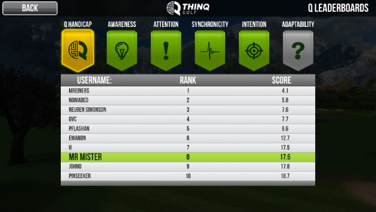 Thinq Golf leaderboards