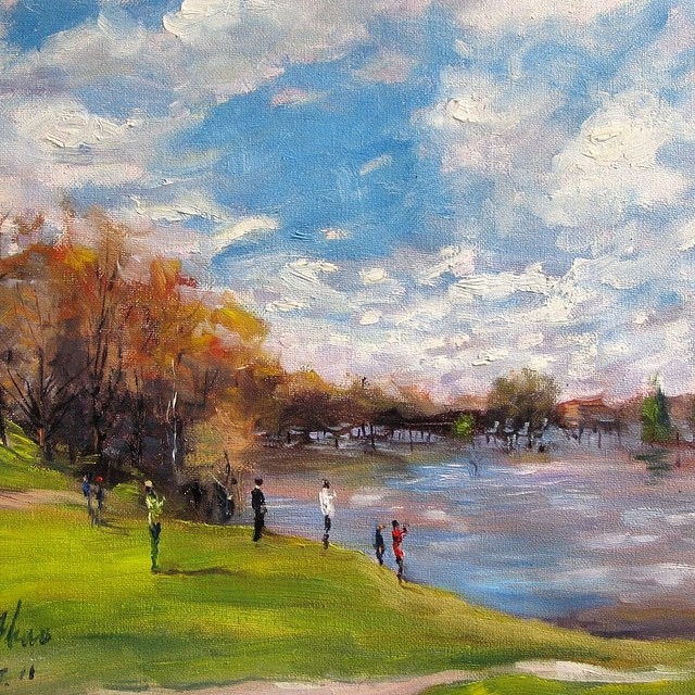 Edge of the Fairway. Oil on canvas. #golf #instagolf #golfing #golfart ?⛳️?☀️?
