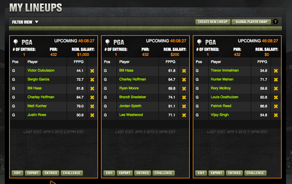 my fantasy golf teams