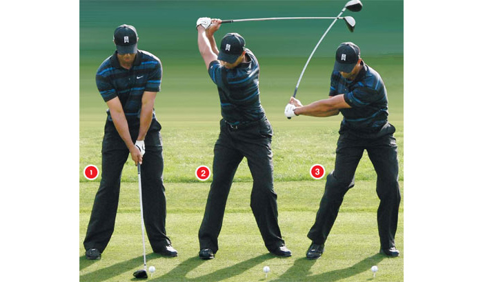 Tiger knees in golf swing