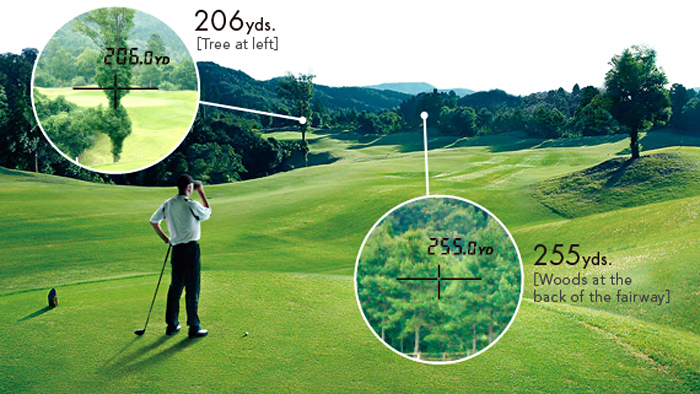 image of golf laser rangerfinder and seeing the various distances it can read - like the tree at 206 yards